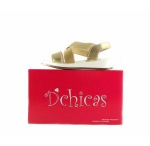 Sandalias planas de bloque D´Chicas con tiras cruzadas elásticas 6680 doradas