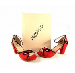 Zapatos Prestigio de pulsera de tacón medio color rojo con negro C-811