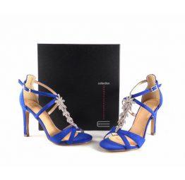 Sandalias de fiesta E.Ferri Glamour azul eléctrico con pedrería plata E705Z