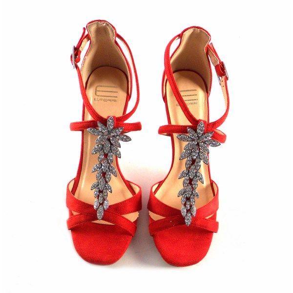 Sandalias de fiesta E.Ferri Glamour rojas con pedrería plata E705Z