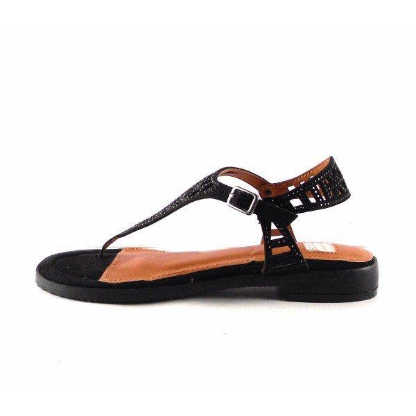 Sandalias planas E.Ferri en forma de T color negro ZVH0733