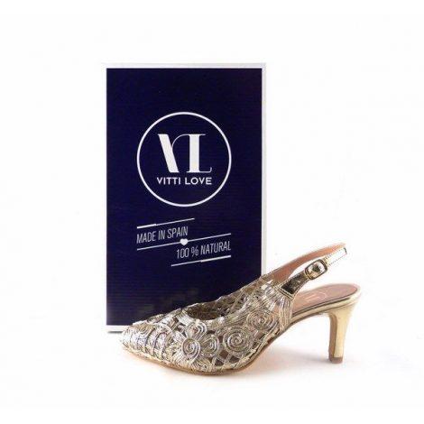 Zapatos de salón Vitti Love de talón descubierto 752 en color oro platino