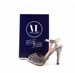 Sandalias de pulsera en piel Vitti Love 785 color plata vieja
