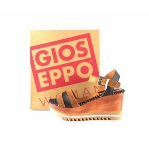 Sandalias de cuña de madera Gioseppo Femminile de piel cuero con negro 28449