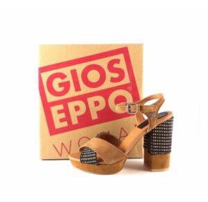 Sandalias de tacón piel Gioseppo Ranuka cuero y vichy negro