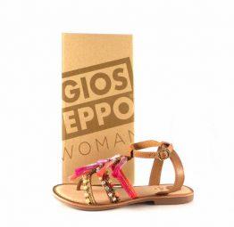 Sandalias planas Gioseppo modelo Nambi en piel marrón con detalles rosas 27832