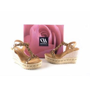 Cuñas D´Angela Shoes de flores color cobre 10493