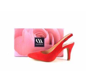 Zapatos de salón de talón descubierto D´Angela Shoes doz10620 color rojo
