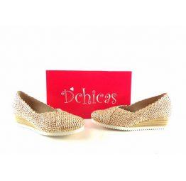 Zapatos de rafia D´Chicas con cuña dorados 2238