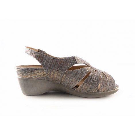 Sandalias de cuña Piesanto 1152 metal gris con planta acolchada