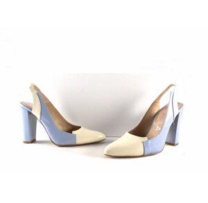 Zapatos de salón Gabriela de talón descubierto en charol off white/ setubal