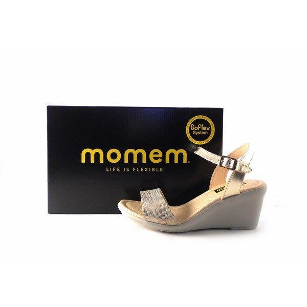 Sandalias de cuña Momem 1006 en color oro platino