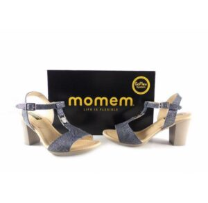 Sandalias de tacón Momem con tira en forma de T color azul 0801