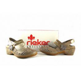 Zapatos para mujer Rieker 47185-42 con pestaña trasera color beig oro