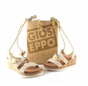 Sandalias de piel Gioseppo color crema con dorado Ocelot 27667