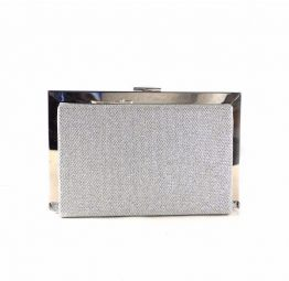 Bolso fiesta E.Ferri plata glitter con cierre metálico 0HV3527