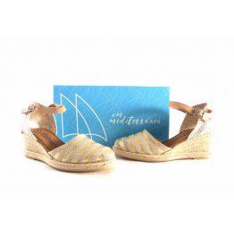 Alpargatas para mujer CM Mediterránea de pulsera combinadas con dorado
