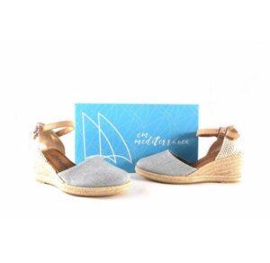 Zapatillas de esparto para mujer CM Mediterránea color plata con pulsera