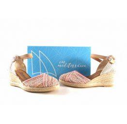 Zapatillas de esparto para mujer CM Mediterránea de rayas rosas