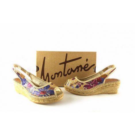 Alpargatas Montané peep toe modelo brasil con lentejuelas florales multicolor