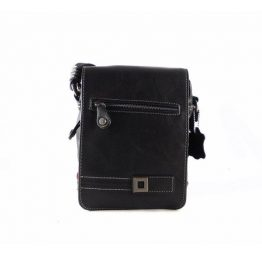 Bandolera de hombre pequeña Matties Bags con solapa en color negro