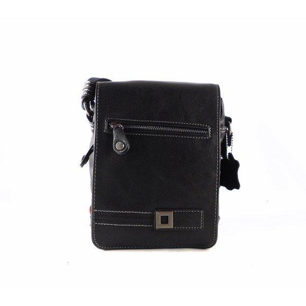 78582368a Bandolera de hombre pequeña Matties Bags con solapa en color negro