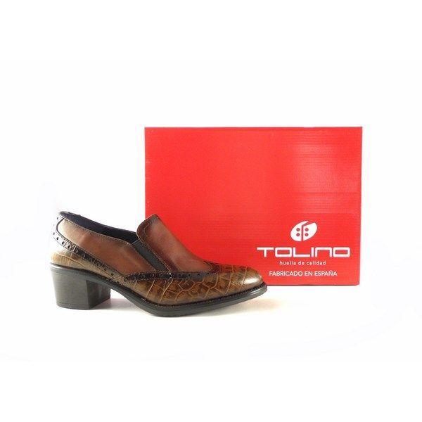 Zapatos Tolino para mujer de tacón bajo engomado color cuero