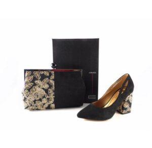 Zapatos de salón E,Ferri ZH10714 001 tacón ancho dorado