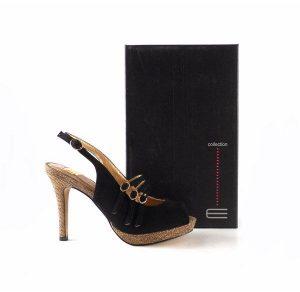 Zapatos de fiesta E.Ferri Glamour ZHI0715 color negro con bronce glitter