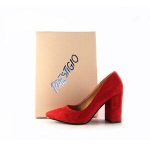 Zapatos Prestigio de tacón ancho con puntera fina C-902 color antelina rojo