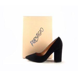 Zapatos Prestigio de tacón ancho con puntera fina C-902 color antelina negro