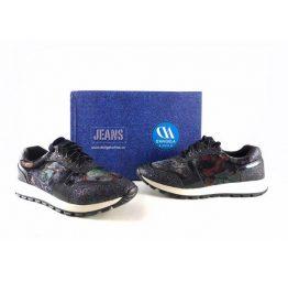 Sneakers D'Angela modelo Hortense terciopelo color azul