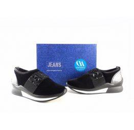 Sneakers D'Angela slip on modelo Iana terciopelo negro