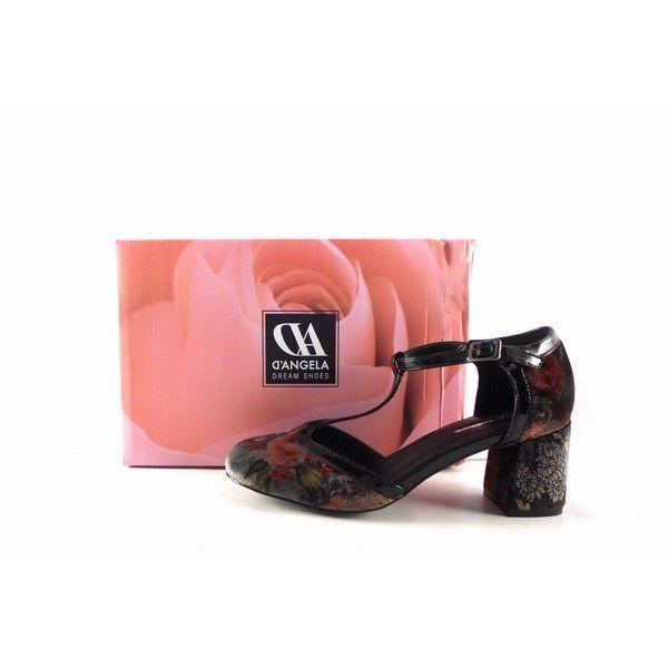 Zapatos D'Angela 11780 terciopelo estampado floral cierre en forma de T