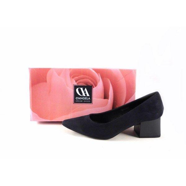 Zapatos de salón D'Angela 11666 ante con tacón ancho charol azul marino