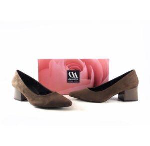 Zapatos de salón D'Angela 11666 ante con tacón ancho charol taupe