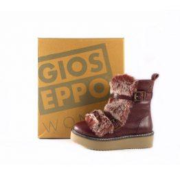 Botas de piel Gioseppo color burdeos de suela gruesa y pelo frontal 42003