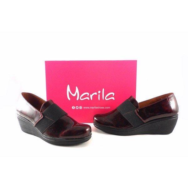 Zapatos Marila Shoes N2025 charol burdeos con elástico