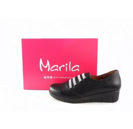 Zapatos confort Marila Shoes N775 con elásticos color negro