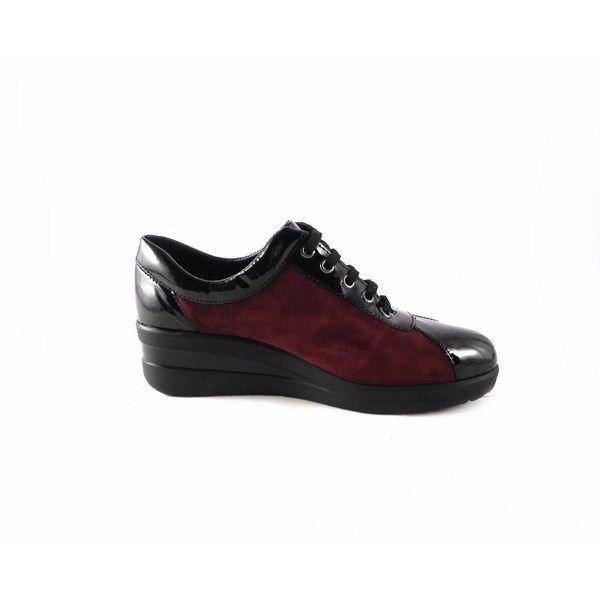 Zapatos D'Ivan 1005 de cuña con cordones burdeos combinado