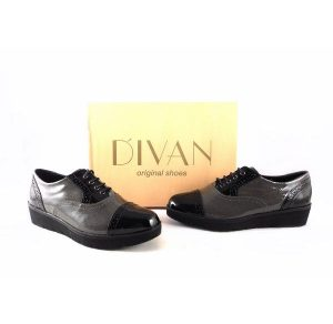 Zapatos confort D'Ivan 1004 con cordones charol combinados