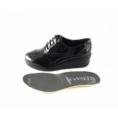 Zapatos confort D'Ivan 1002 con cordones charol negro