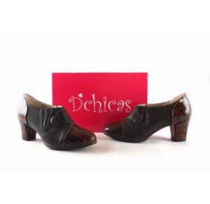 Zapatos abotinados D'Chicas 3417 marrón combinado