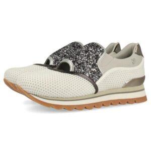 Sneakers estilo slip on Gioseppo gris con detalles plateados para mujer
