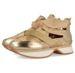 Sneakers Gioseppo estilo botín 43418 dorado con aperturas y elástico 43418