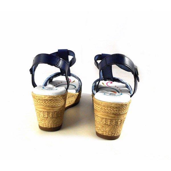 Sandalias de cuña D'Ivan con planta de gel azul marino