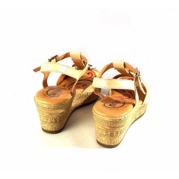 Sandalias de cuña D'Ivan con planta de gel beis con flores