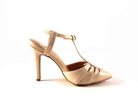 Sandalias E.Ferri Glamour charol beige de punta fina