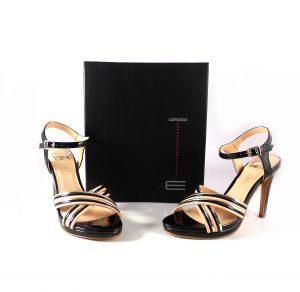 Sandalias de tacón E.Ferri charol negro con dorado y rosa