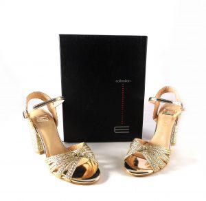 Sandalias fiesta mujer E.Ferri doradas de tiras trenzadas